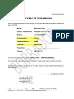 modelo de certificado de operatividad