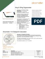 Elcometer 116 Sling Psychrometer Product Data Sheet