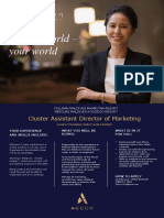 Job Advert Cluster Assistant Director of Marketing Job Advert