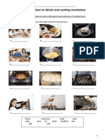 Worksheet on Meals and Cooking Vocabulary