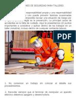 Recomendaciones de Seguridad Para Talleres Mecánicos