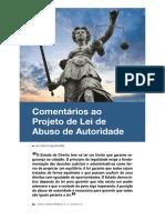 Comentários ao Projeto de Lei de Abuso de Autoridade