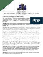 CFT Resolution on TFA