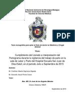 Cumplimiento Llenado e Interpretacion Del Partograma Durante La Vigilancia Del Trabajo de Parto San Juan de Dios 2015