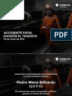 Reflexión Seguridad Accidente Fatal DET_2_junio_2019