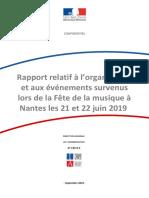 Rapport Relatif a l Organisation Et Aux Evenements Survenus Lors de La Fete de La Musique a Nantes Les 21 Et 22 Juin 2019