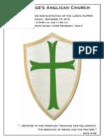 14 Pentecost 2019 Year C | 15 September @ 9 & 11
