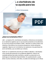 Betaína HCL o clorhidrato de betaína - Una ayuda para las digestiones