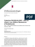 Caterina PASQUALINO_ Dire Le Chant. Les Gitans Flamencos d'Andalousie
