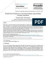 Mental Stress Detection in University Students using Machine Learning Algorithms