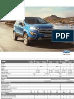 Ficha Técnica Ford EcoSport 2018