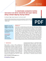 Highly stretchable, electrically conductive textiles fabricated from silver nanowires and cupro fabrics using a simple dipping–drying method
