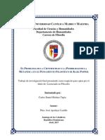 EL PROBLEMA DE LA CIENTIFICIDAD Y LA POSIBILIDAD DE LA  METAFÍSICA EN EL PENSAMIENTO FILOSÓFICO DE KARL POPPER