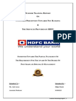 Customer perception towards the products and services of HDFC bank