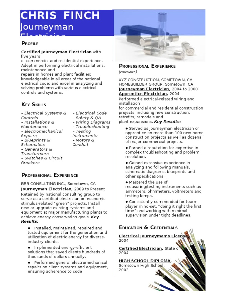 sample resume journeyman electrician