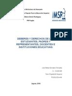 Deberes y Derechos de las personas en las intituciones educativas