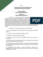 Ley de Integracion Social Para Personas Con Discapacidad Sonora