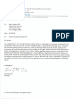 Letter of disapproval by Carriage Town Historic Neighborhood Association