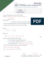 Number H Factors Multiples Primes Number Properties v2 SOLUTIONS