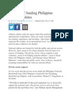 The Case of Funding Philippine National Athletes
