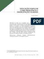 Educação Popular Como Resistência e Emancipação Humana