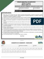 Ibfc 2015 Camara Municipal de Vassouras Rj Agente Administrativo Vigilante Cerimonial Operador de Audio e Video Prova
