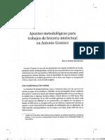 Apuntes metodológicos para trabajos de historia intelectual en Antonio Gramsci