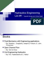 Hydraulics Engineering Lec 1