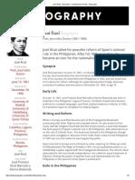 Jose Rizal - Education, Contribution & Death - Biography