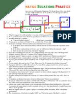Extra Kinematics Equations Practice