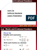 1-5 Roots and Irrational Numbers