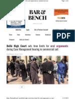 Article -- Delhi HC Limits Commercial Court Arguments