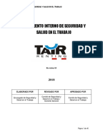 Reglamento Interno de Seguridad y Salud en El Trabajo- TAIR 2018 v1