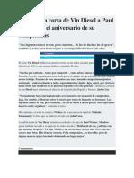 La Emotiva Carta de Vin Diesel a Paul Walker en El Aniversario de Su Cumpleaños