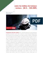 Concurso Entre Los Delitos de Lesiones Graves y Tortura - R.N. 328-2009, Lima