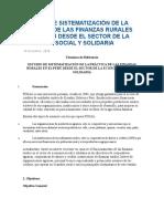 Estudio de Sistematización de La Práctica de Las Finanzas Rurales en El Perú Desde El Sector de La Economía Social y Solidaria