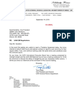 Letter - Scott Sandefur - Uaw-gm Negotiations (Working Without a Contract)