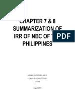 NBC IRR - Chapter 7-8