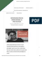 Intervención en Crisis Desde La Psicología. Guía Clínica