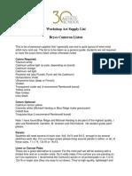 Liston Supply List 2014 SAS