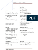 Formula Sheet MAF 302 Corporate Finance