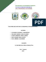 Factores Que Afectan Al Desarrollo Organizacional