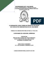 La Mediación Como Forma Alterna de Solucion de Conflictos Mercantiles en El Salvador