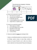 Ficha Practica Sustantivos Comunes Propios 2do Grado