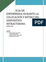 Asistencia de Enfermeria Durante La Colocacion y Retiro Del Dispositivo Intrauterino