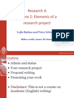 Research	A	 Lecture	2:	Elements	of	a	 research	project