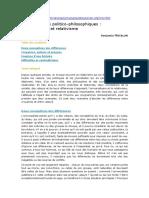 Deux Attitudes Politico-philosophiques, Universalisme Et Relativisme (B. Matalon)