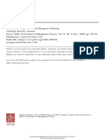 Performance Measurement and Managerial Thinking
