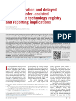 Cryopreservation and Delayed Embryo Transfer–Assisted Reproductive Technology Registry and Reporting Implications