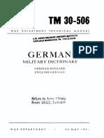 TM30-506 German-English Military Dictionary 1944